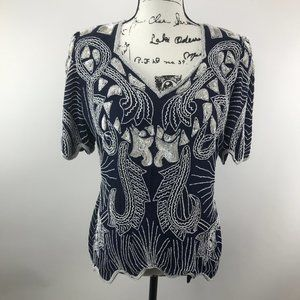 Vintage Scala Beaded Sequin Blouse